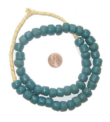 Teal Sandcast Beads 13mm Ghana African Blue Round Glass Large Hole Handmade