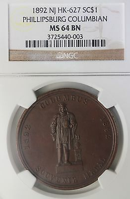 1892 New Jersey Phillipsburg Columbian Celebration So-Called Dollar NGC MS-64 BN