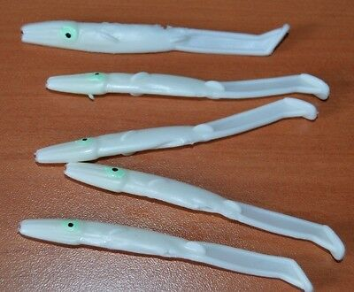 5 Angluillette In Silicone 9 Cm Bianche Traina E Spinning Pesca - Hf1