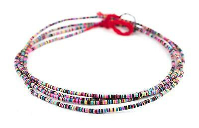 African Multicolor Vinyl Phono Record Beads (3mm) Ghana