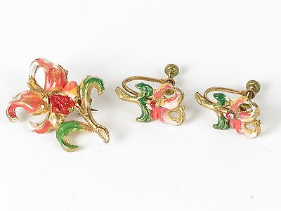 Iris brooch pin earrings set orange red gold tone vtg clip on screw back
