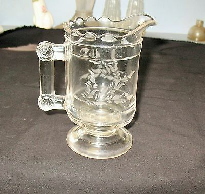Beautiful 1890's EAPG CROSSED DISCS ETCHED FOOTED PITCHER CREAMER