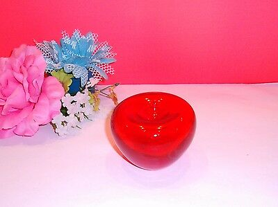 Vintage✿Large RED Apple Hand Blown Glass PAPERWEIGHT Desk Top✿Cute!