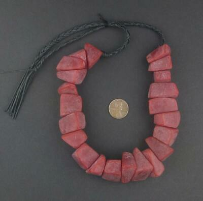African Moroccan Resin Chunk Beads (Vintage Red) Morocco