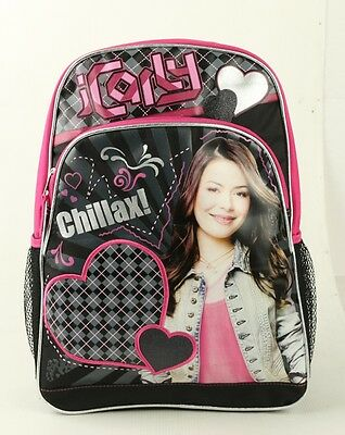 """New iCarly Full School Large 16"""" Backpack Girls large Bag with free water holder"""