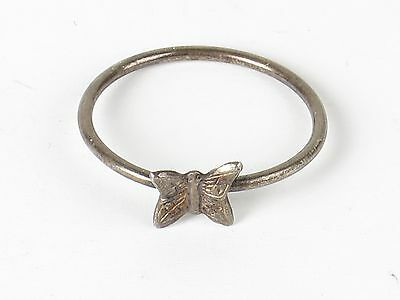 Vtg butterfly ring silver tone size 7.25 small dainty