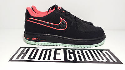 """NIKE AIR FORCE 1 GS LOW BLACK CRIMSON GREEN """"YEEZY"""" size 1Y 12C YOUTH BOYS Kids"""