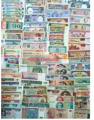 World Paper Money 100 banknotes PCS, UNC Genuine Banknote from 30 countries uk