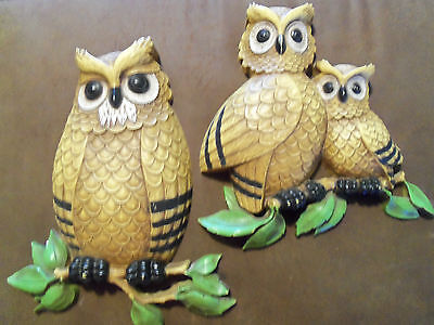 MCM Pair Owl Homco Dart Wall Decor 1976  Heavy Resin Hooters Colorful