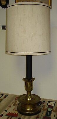 Vintage Frederick Cooper Brass Wooden Base Stick Lamp/Original Shade Beautiful!