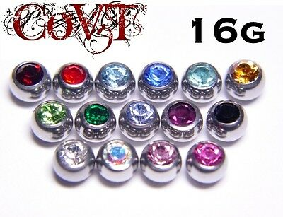 16G Replacement Gem Balls Labret Crystal CZ Monroe Lip Cheek Tragus 3mm Body