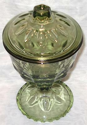 Vintage Avocado Green Pressed Thumbprint Glass Candy Pedestal Bowl With Lid