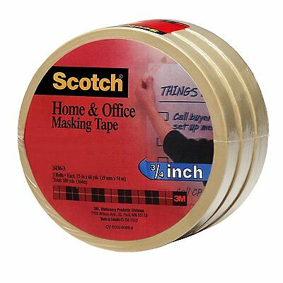 Scotch(R) Home and Office Masking Tape 3436-3, 3/4-inch x 60 Yards, 3 Pack , New