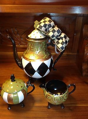 hand painted vintage silver plate tea set with Mckenzie Childs ribbon bow