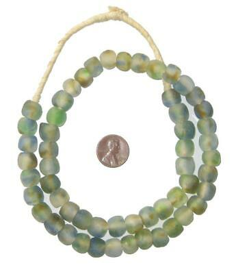 African Recycled Glass Beads - 11mm (Blue/Green/Brown Swirl) Ghana