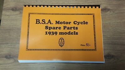BSA Parts Book 1939 models C10 C11 B21 B23 B24 B25 B26 M20 M21 M22 M23 M24 G14