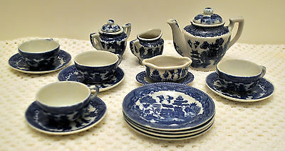 Old Porcelain BLUE WILLOW CHILD'S TOY TEA SET 18 Pieces  Made in Japan