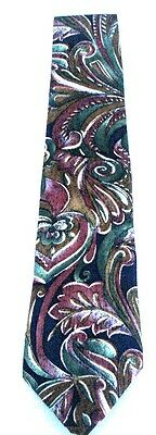 Alexander LLoyd Foliage Green Pink Brown Design Men's Necktie Neck Tie Silk