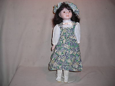 GINGHAM  DRESSED  WITH HAT PORCELAIN DOLL - 16 INCH - WITH STAND-BOXED