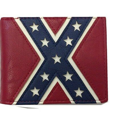 Men Women Western Rodeo Wallet Confederate Flag Red White & Blue Bifold
