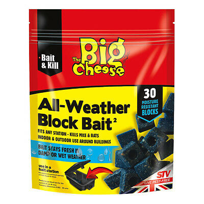 STV Big Cheese All-Weather Rat & Mouse Rodent Killer Poison 15 or 30 Block Bait