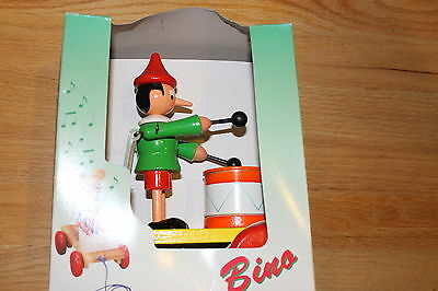 BINO WOODEN PINOCCHIO PULL TOY VINTAGE NIB MADE IN EUROPE RETIRED RARE