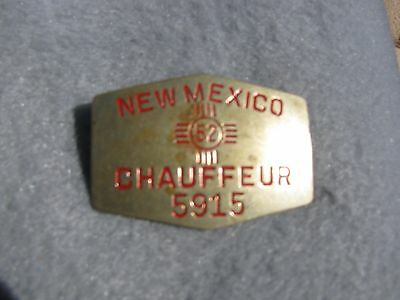 1952 New Mexico Chauffeur Badge  Nice Original!  Pin Related to license plate