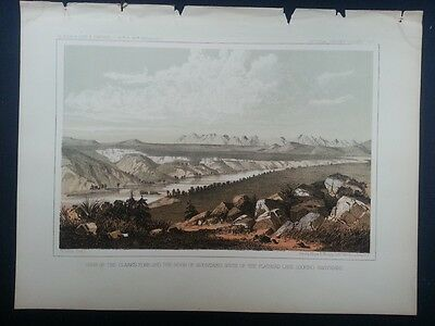 "1860 USPRR Antique Tinted Litho -""View of the Clarks Fork ...Ridge of Mtns"" MT"