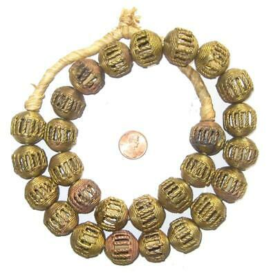 African Braided Brass Filligree Globe Beads (21mm) Ghana