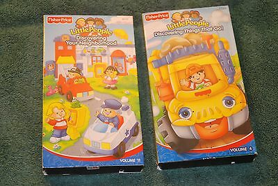 Lot 2 Fisher Price Little People VHS: Vol 4 Discovering Go & Vol 11 Neighborhood