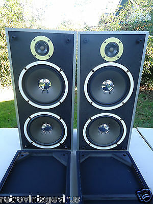 RARE 70's? Vintage Mitsubishi Stereo Speakers Model SS-12 DOUBLE DRIVERS 30 WATT
