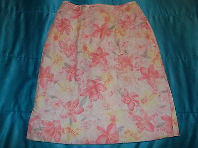 Skirt Size 6 HandMade, Below Knee,Embroidered Floral, Multi Color,100%Cotton