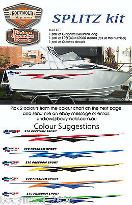 "Quintrex Freedom Boat Decals and Graphics ""SPLITZ Kit"""