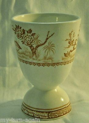 Antique England English Transferware Furnivals China QUAIL-BROWN Double Egg Cup