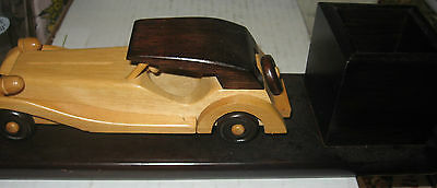 Vintage Handmade Wooden Rolls Royce Pencil Holder 2 Color Woods 11 inches long