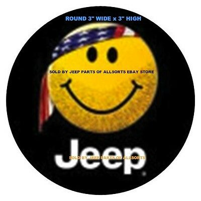 "White JEEP Script + YELLOW SMILY FACE + US FLAG BANDANA DECAL STICKER 3""-W x3""-H"