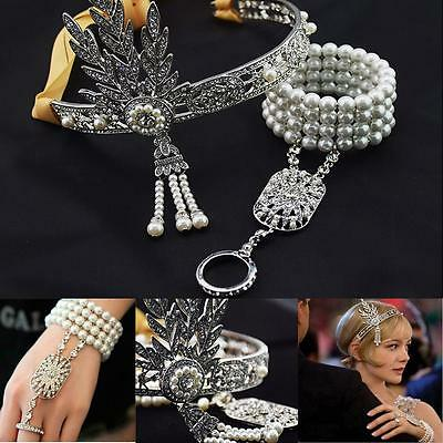 Flapper 1920's Great Gatsby Style Pearl Crown Bracelet Necklace #L Bridal Access