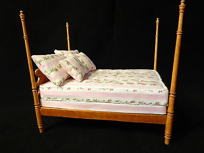 """Dollhouse Mattress Set And Pillows 6 Piece for 1"""" Scale Double Bed Handmade"""