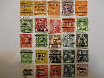 PRECANCELS-LOT 103 -  SMALL COLLECTION OF 25 DIFFERENT TOWN AND TYPE CANCELS.