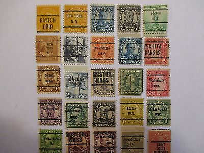 PRECANCELS-LOT 105  -  SMALL COLLECTION OF 25 DIFFERENT TOWN AND TYPE CANCELS.
