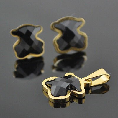 (With Chian)Fashion Stainless Steel Gold Micro Bear Necklace & Earring Set