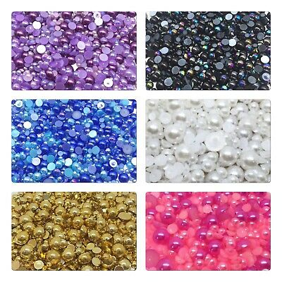 1000 Half Round Pearl Flatback Beads Embellishment Cabochons Card Making 4-10mm