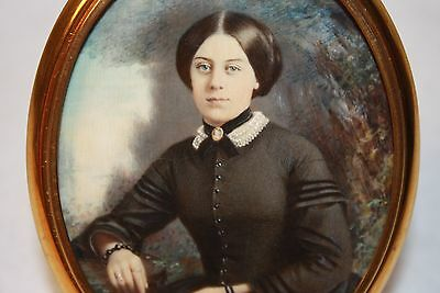 ANTIQUE AMERICAN MINIATURE PORTRAIT OF A LOVELY YOUNG LADY BY MARION H HARTMAN