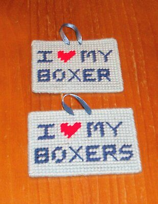 Brand New Handmade Needlepoint Sign I Love My BOXER BOXERS 4 Dog Rescue Charity