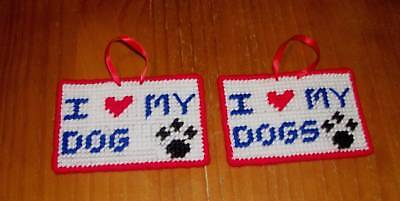 Brand New Handmade Needlepoint Sign I Love My DOG DOGS For Dog Rescue Charity