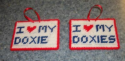 Brand New Handmade Needlepoint Sign I Love My DOXIE DOXIES Dachshund Sign