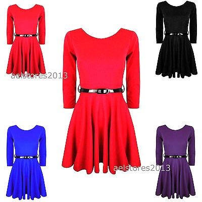 New Girls Plain Retro Skater Dress Long Sleev with Belt Age Size 7 9 11 13 years