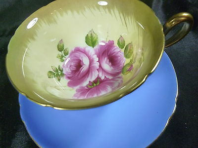 SHELLEY   tea cup and saucer  GAINSBOROUGH SHAPE  BLUE H.P PINK ROSES ON CREAM