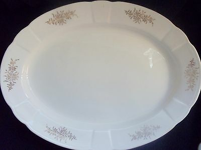 Knowles Taylor Knowles Large Serving Platter ~ Ivory with Gold Flowers