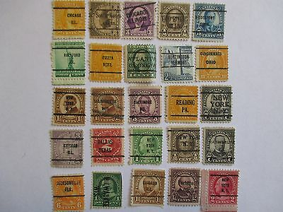 PRECANCELS-LOT 108 -  SMALL COLLECTION OF 25 DIFFERENT TOWN AND TYPE CANCELS.